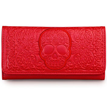 Frightful Filigree Skull Wallet in Crimson - PLASTICLAND