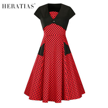 Women's Short Sleeve Square Collar Polka Dot Patchwork Pockets Fashion Cocktail Formal Skater Party A Line 50s Vintage Dress