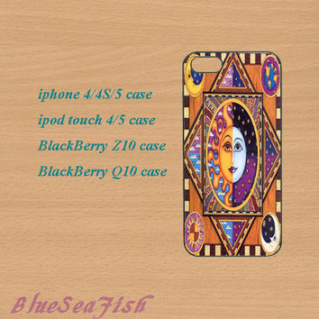 iphone 4 case,iphone 5 case,ipod touch 4 case,ipod touch 5 case,Blackberry z10 case,Blackberry q10 case--The Sun and The Moon,in plastic.