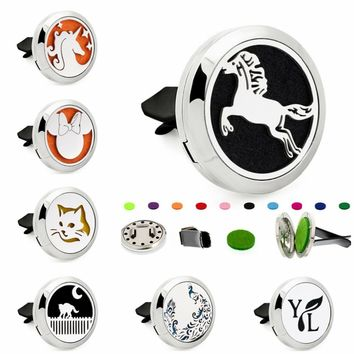 Jumping Horse Unicorn Cat 30mm Magnet Stainless Steel Aromatherapy Perfume Car Diffuser Locket Removable Vent Clip 10pcs Pads