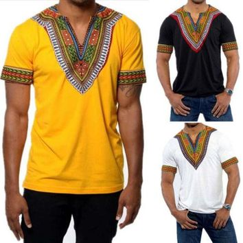 Men Women African Dashiki T-Shirt Fashion Print Long Sleeve Hippie Tops