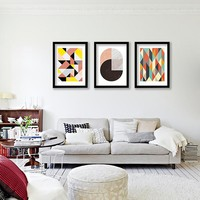 Geometric patterns Wall Art Canvas Print , Colorful Wall Painting Abstract Prints for home office wall art decor