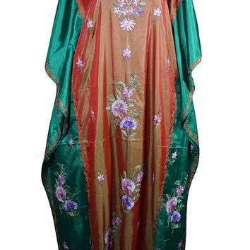 Mogul Womens Caftan Maxi Dresses Double Shaded Silk Kashmir Floral Embroidered Kaftan (Red-Green-1): Amazon.ca: Clothing & Accessories