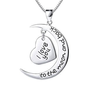 Silver I Love You to the Moon And Back Heart Pendant Necklaces