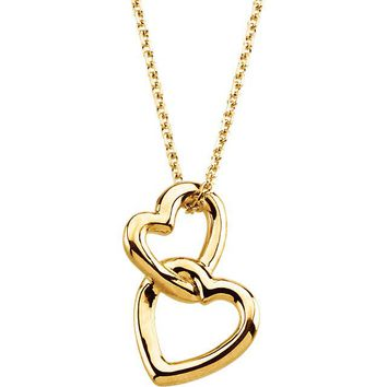 "14K Yellow Gold Solid Double Heart 18"" Necklace"