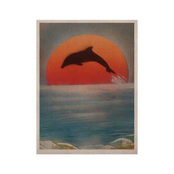 "Infinite Spray Art ""Dolphin Sunset"" Blue Gray KESS Naturals Canvas (Frame not Included)"