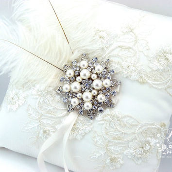 Wedding ring bearer pillow Lace embroidery Rhinestone adornment feather light ivory ring pillow bridal ring cushion