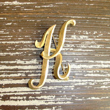 "Vintage Mamselle Initial Pin ""K"" Gold Tone Brushed Satin Finish Signed Monogram Brooch, Retro 1960s Letter Sweater Pin"