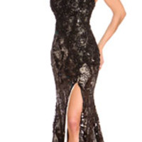 (PRE-ORDER) Mac Duggal 2014 Prom Dresses - Black Floral Lace & Sequin Embellished Prom Gown