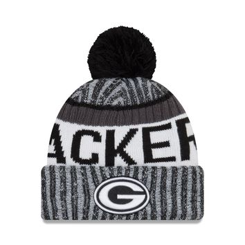 Green Bay Packers NFL17 Black And White Sideline Cuffed Pom Knit Hat By New Era