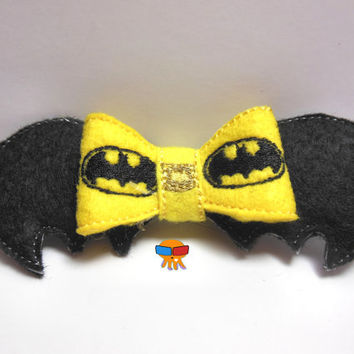 Well Prepared Brooding Bat Hero inspired 3D felt bow felt clippie physical item made to order