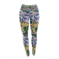 "DLKG Design ""Birds"" Blue Yellow Yoga Leggings"
