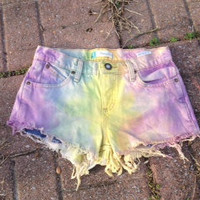 Pastel Rainbow Highwaisted Shorts by KelciesKloset on Etsy
