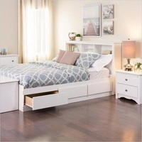 Prepac Monterey White Double / Full Bookcase Platform Storage Bed - Walmart.com
