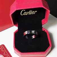 Cartier New fashion retro couple titanium steel ring women Silver