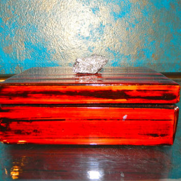 Wood Grain Painted Lacquer Box with Pyrite Knob