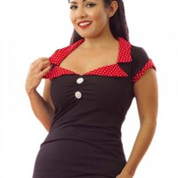 Tailored Top Black/Red Women's by Pinky Pinups