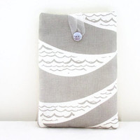 Grey wave print Ipad mini cover , fabric tablet sleeve case with hand printed grey wave pattern fabric, uk seller