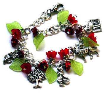 Little Red Riding Hood Charm Bracelet  for little ones +3, woman, teenage girl. Children jewerly. Red Bracelet. To tell a Tale  Anniversary