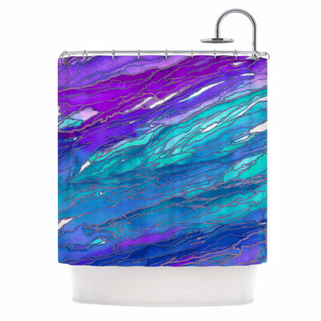"Ebi Emporium ""Agate Magic - Purple Blue"" Aqua Lavender Shower Curtain"