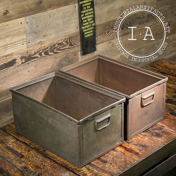 Vintage Industrial Metal Storage Bins Boxes Organizers Totes Chests Drawers Stackable Planters