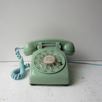 Vintage Green Rotary Phone - Western Electric Automatic Electric Rotary Telephone - Pastel - Mint - Seafoam Green