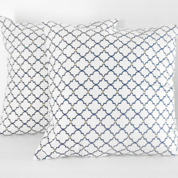 Navy and White Pillow Covers Gold and Blue Print Nautical16 X 16 inches