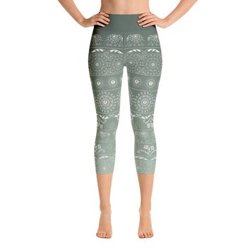Elephant Mandala in Green Yoga Capri Leggings
