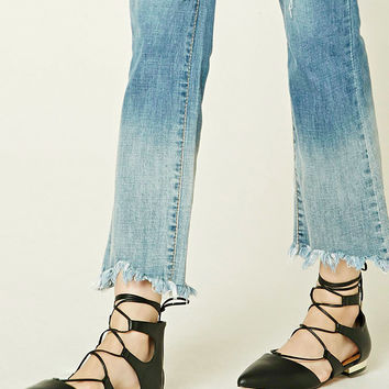 Lace-Up Faux Leather Flats