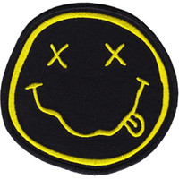 Nirvana Iron-On Patch Round Yellow Smiley Face