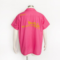 Vintage 1960s MARY KAY Shirt - PINK Bowling Shirt / Smock Button Up Chain Stitched 60s - Large