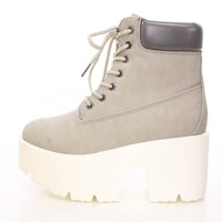 Grey Lace Up Chunky Platform Booties Faux Leather