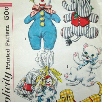 Stuffed Animal Toy Sewing Pattern soft toy baby children vintage 50s 1950 mid century clown elephant cat dog plushie stuffie Simplicity 2329