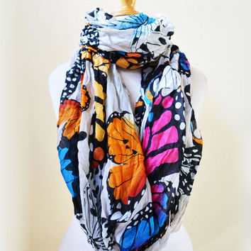 Womens BUTTERFLY infinity scarf - shawl neckwarmer - accessories - loop circle eternity