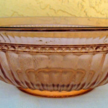 Vintage Pink Depression Glass Serving Bowl