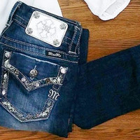 MISS ME GLAM TRIM ANKLE SKINNY JEANS