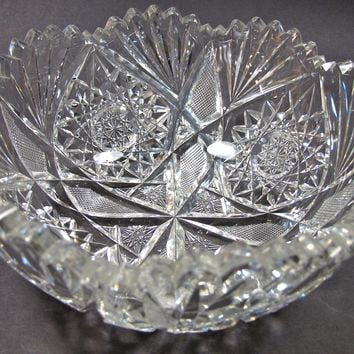 Signed Libbey American Brilliant Period hand Cut Glass bowl