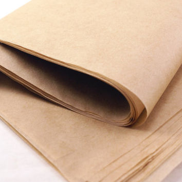 20 sheets of Unbleached and biodegradable natural brown parchment paper - 16 x 24 - for baking, wrapping caramels, healthy cooking