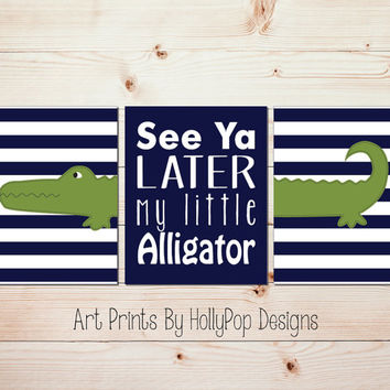 Alligator Wall Art Baby Boy Nursery Decor Navy Blue Green Boy Bedroom Wall Art See Ya Later Alligator Prints Toddler Boys Room Wall Art 1039
