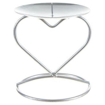 Heart Shaped Candle Holder - Matte Silver