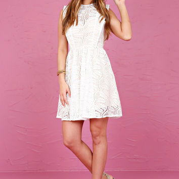 Lucky in Lace Dress - White