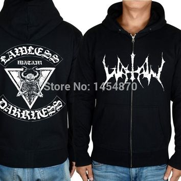 Thrash Zipper streetwear Hoodies Evil Devil tracksuit Skull Watain Rock jacket punk hardrock sweatshirt fleece