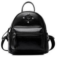 Black Stud Detail Leather Backpack