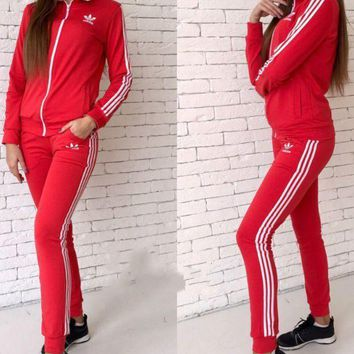 Adidas Women Fashion Letter Long Sleeve Shirt Sweater Pants Sweatpants Set Two-Piece Sportswear G-1