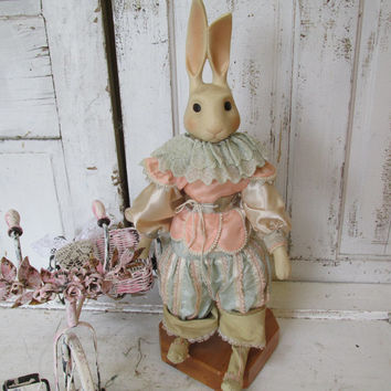 Porcelain rabbit statue story book style whimsical silk/ satin clothing shabby chic inspired bunny figure home decor anita spero