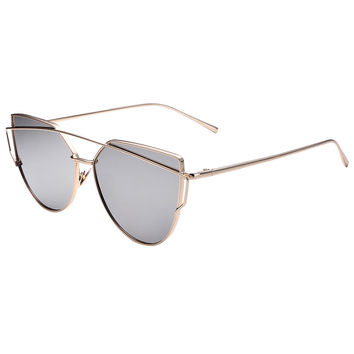 Silver Double High Bar Detail Mirror Tinted Cat Eye Sunglasses