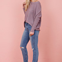 Drop Shoulder Knit Sweater - Lavender