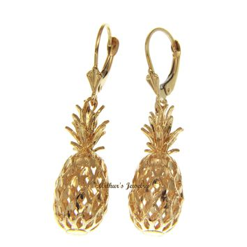 SOLID 14K YELLOW GOLD HAWAIIAN DIAMOND CUT PINEAPPLE LEVERBACK EARRINGS 11.40MM