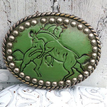 Leather Horse Hand Tooled Stud Belt Buckle Western Cowgirl Rodeo Buckle