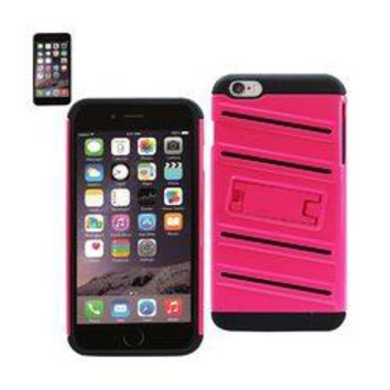 REIKO IPHONE 6 PLUS HYBRID FISHBONE CASE WITH KICKSTAND IN BLACK HOT PINK